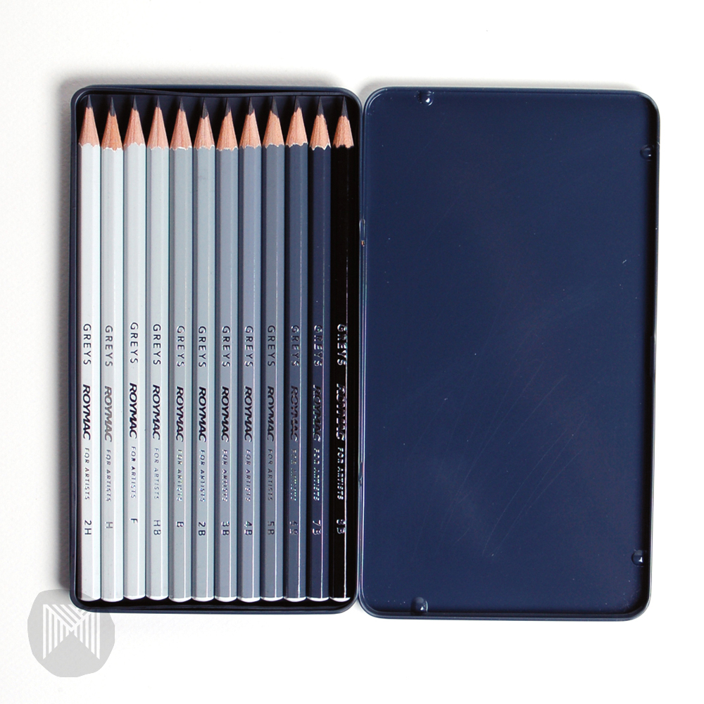 ROYMAC GREYS SKETCHING TIN 12 PENCIL SET 2H – 8B