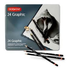 24 GRAPHIC DERWENT PENCILS 9B - 9H