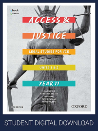 ACCESS & JUSTICE VCE LEGAL STUDIES UNITS 1&2 OBOOK/ ASSESS 13E