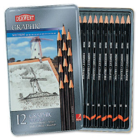 12 GRAPHIC DERWENT PENCILS 6B-4H (MEDIUM)