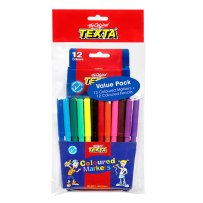 12 TEXTA COLOURED PENCILS & 12 TEXTA COLOURED MARKERS VALUE PACK