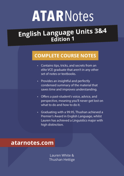 Buy Book - ATARNOTES VCE ENGLISH LANGUAGE UNITS 3&4 NOTES 1E