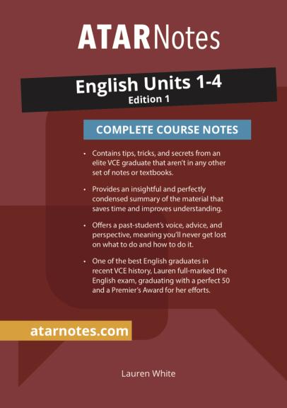 Buy Book - ATARNOTES VCE ENGLISH UNITS 1-4 NOTES 1E