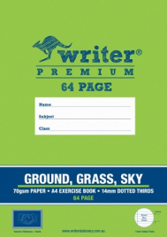 64 PAGE A4 EXERCISE BOOK GROUND / GRASS / SKY 14MM DOTTED THIRDS