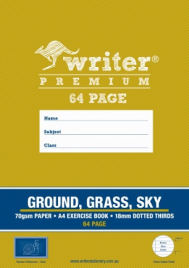 64 PAGE A4 EXERCISE BOOK GROUND / GRASS / SKY 18MM DOTTED THIRDS