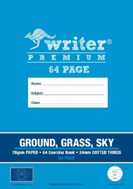 64 PAGE A4 EXERCISE BOOK GROUND / GRASS / SKY 24MM DOTTED THIRDS