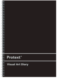 A4 PROTEXT VISUAL ART DIARY 60 SHEET BLACK PP SILVER WIRE BINDING