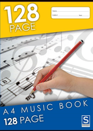 MUSIC EXERCISE BOOK A4 128 PAGE STAVE 8MM