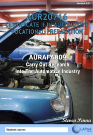 CERT II IN AUTOMOTIVE VOCATIONAL PREPARATION: CARRY OUT RESEARCH INTO THE AUTOMOTIVE INDUSTRY EBOOK (Restrictions apply to eBook, read product description)